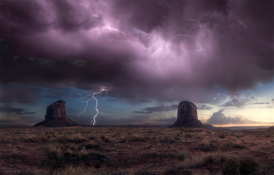 Summer storm at Monument Valley
